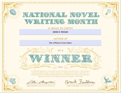 NaNoWriMo Winner Cert
